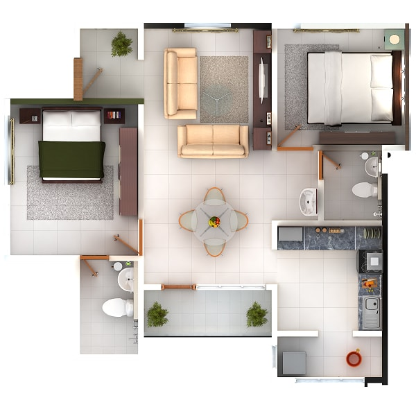 2 BHK Apartments Floor Plan
