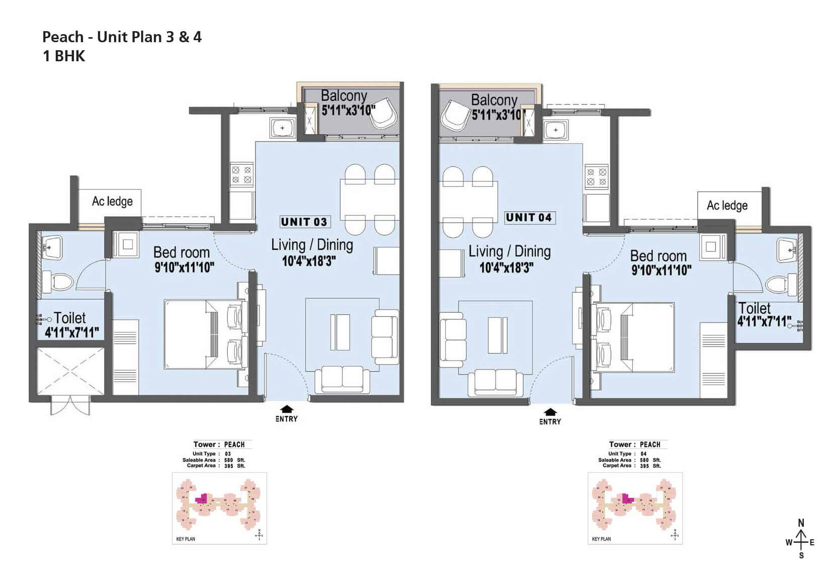 Edenpark Peach Plan 2 & 4 - 1 BHK